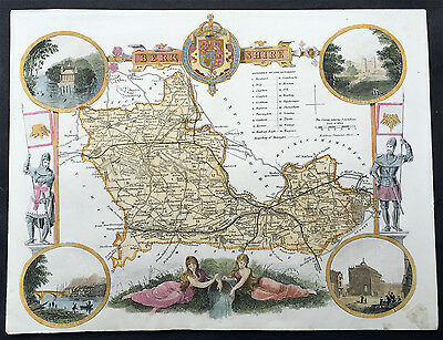 1836 Moule Original Antique Map The English County of Berkshire
