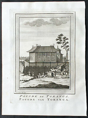 1755 Prevost & Schley Antique Print of Japanese Pagoda 塔 for Hachiman 八幡神