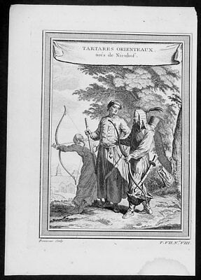 1755 Prevost Antique Print Warriors of East Tartary now Primorsky Krai, Russia