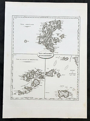 1799 J N Buache Antique Map British Islands Shetlands, Scilly, Jersey & Guernsey