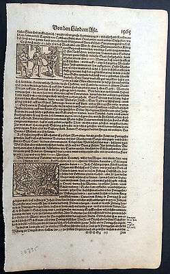 1628 Munster Antique Print Battle In India with Portuguese Army - Musicians