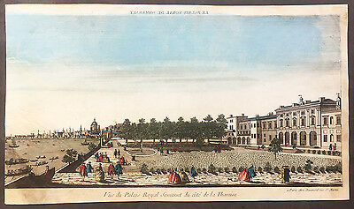 1760 Vue D Optic Large Antique Print View of Old Somerset House, Thames London