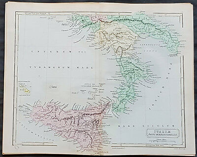 1840 Sydney Hall Antique Map of Southern Italy, Sicily and Malta