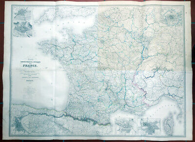 1857 Dufour Very Large Scarce Antique Map of France - 1.5m x 1.15m, 6ft x 4ft