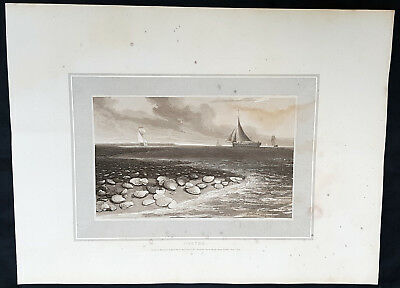 1809 William Daniell Antique Print of Oysters on a Beach with Sailing Ships