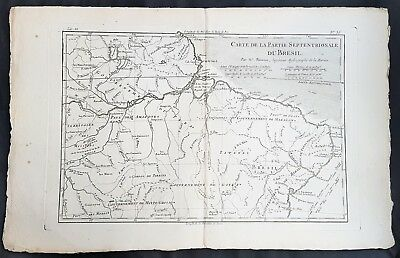 1780 Rigobert Bonne Antique Map The Amazon River, Northern Brazil, French Guiana