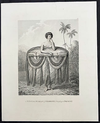 1784 Capt Cook Original Antique 1st Ed. Print - Tahitian Girl with Gift in 1777
