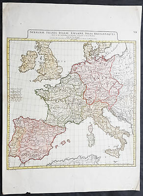1782 J B D Anville Large Antique Map of Western Roman Europe, Britain to Italy