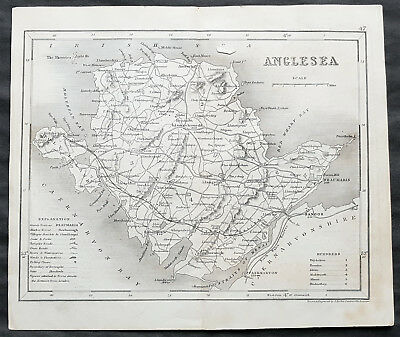 1846 Joshua Archer & Dugdales Original Antique Map of Anglesey, Wales UK