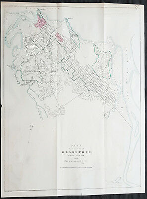 1854 Arrowsmith Rare Antique Map, Town Plan of Gladstone, Queensland, Australia