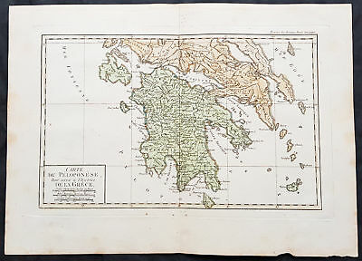 1769 J B D Anville Antique Map of Southern Greece and the Peloponnese