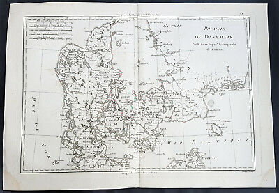 1780 Rigobert Bonne Antique Map of Denmark & Southern Sweden