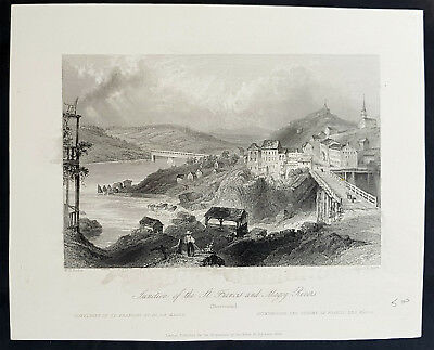 1842 William Bartlett Antique Print View The City of Sherbrooke, Quebec Canada