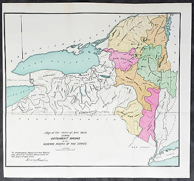 1889 George Rafter Antique Map The Rivers of New York State, Lake Ontario & Erie