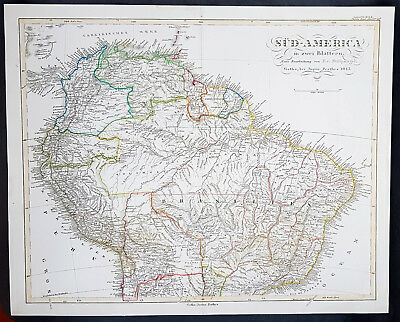 1843 Adolph Stieler Large Antique Map of Northern South America - Beautiful