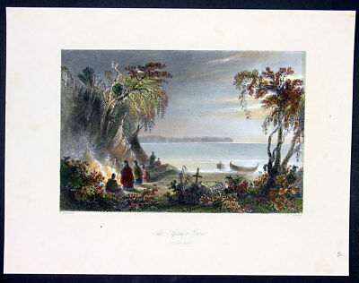 1842 William Bartlett Antique Print of Ottawa Indian burial & mourners, Canada
