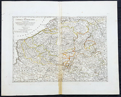 1774 Samuel Dunn Large Antique Map of The Spanish or Catholic Netherlands