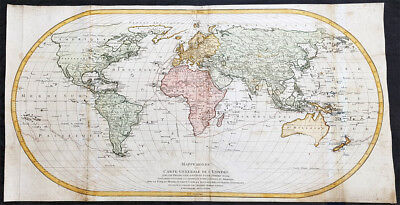 1778 Matthäus Lotter Very Large Oval World 1st edition Map Capt Cooks 1st Voyage