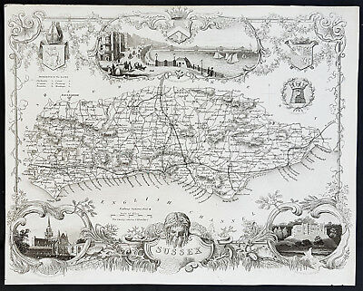 1836 Thomas Moule Antique Map of The English County of Sussex - View of Brighton
