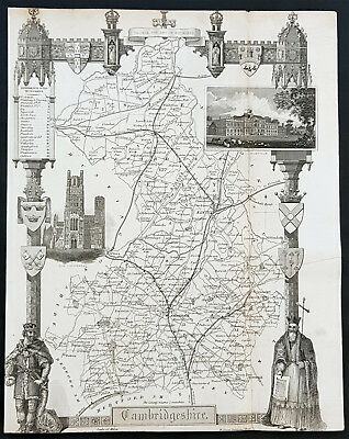 1836 Thomas Moule Antique Map of Cambridge, England - inset view Ely Cathedral