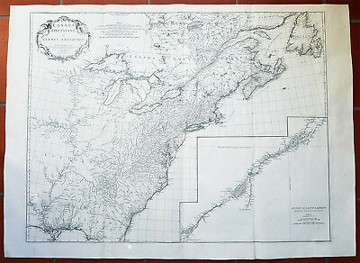 1755 D Anville Large Antique Map of North America, Great Lakes, Indian Wars