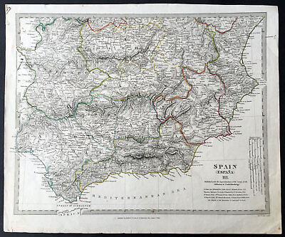 1831 SDUK Large Antique Regional Map of Southern Spain Toledo to Granada