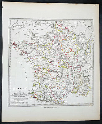 1831 SDUK Large Antique Map of France in Provinces