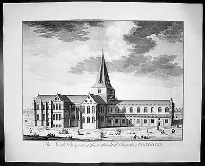 1724 Kip Large Antique Original Birds Eye View Rochester Cathedral Kent, England
