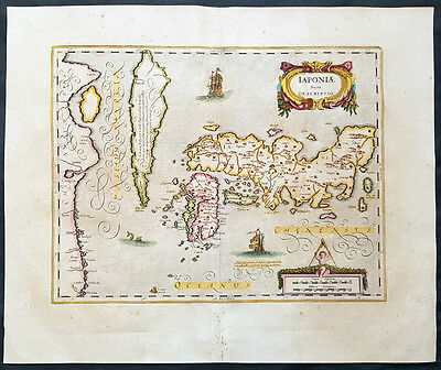 1639 Hondius & Jansson Original Antique Map of Japan, Korea & China, Magnificent