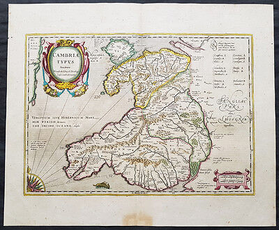 1639 Hondius & Mercator Original Antique Map of Wales, UK - Humphrey Llwyd