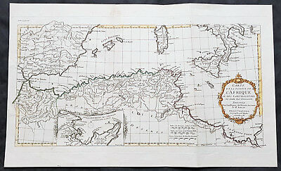 1738 J B D Anville Antique Map Gulf Of North Africa, Spain, Sardinia & Sicily