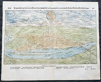 1574 S Munster Antique Map - City View of Trier, Rhineland-Palatinate, Germany