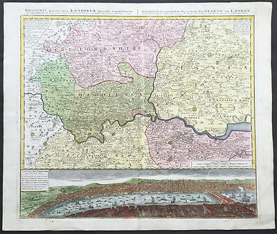 1741 Homann Large Original Antique Birds Eye View of  London w/ Map of Middlesex