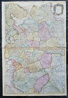 1712 John Senex Large Antique Map of Europe Russia, Moscow - Finland to Azov