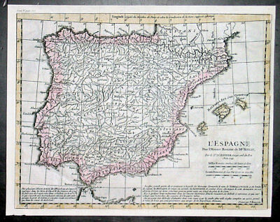 1741 J B D Anville Antique Map of Spain & The Balearic Islands