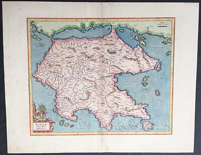 1623 Hondius & Mercator Original Antique Map of The Greek Peloponnesus, Morea