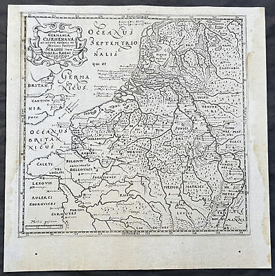 1611 Philipp Cluver Antique Map The Netherlands, Belgium, parts France & Germany