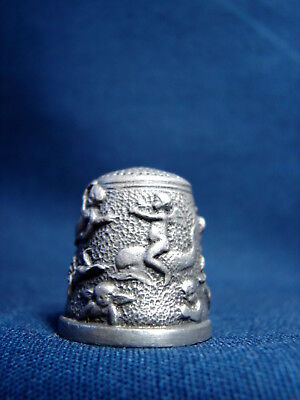 Vintage Very Rare BATTERSEA ART NOUVEAU PEWTER THIMBLE- Angels & Cherubs at Play