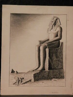 OLD Antique Fine Art Original Drawing / PAINTING artwork Ancient Egypt Egyptian