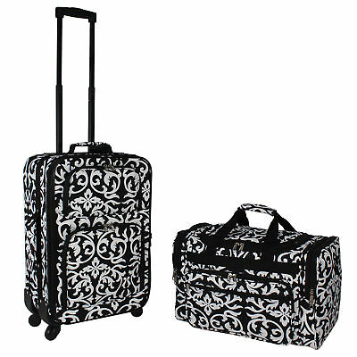World Traveler 2-PC Carry-On Expandable Spinner Luggage Set - Black Trim Damask