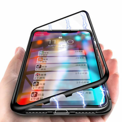 For iPhone X XS MAX 8 7 Plus Magnetic Absorption Case Tempered Glass Metal Cover