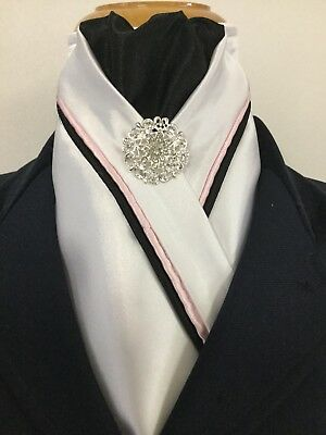 HHD White Satin Dressage Show Stock Tie Black /& Grey  Piping Pin Included