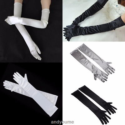 New Women Satin Arm Hand Long Sleeve Gloves Evening Party Opera Bridal Wedding