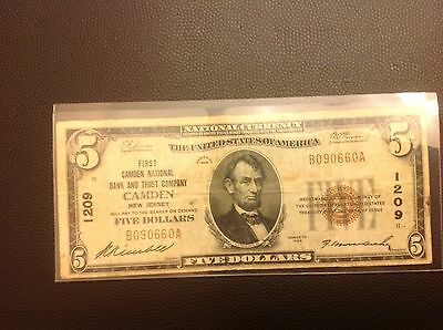 1929 $5.00 five Dollar National Currency Banknote Camden New Jersey 1209 b090660