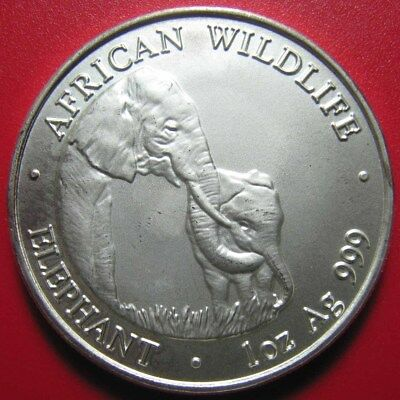 2001 ZAMBIA 5000 KWACHA 1oz SILVER ELEPHANT MOTHER CALF GRAZING ON GRASS RARE!