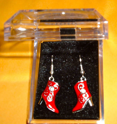 COWGIRL BOOT EARRINGS NIB French hook Red Cowboy Horse Shoe