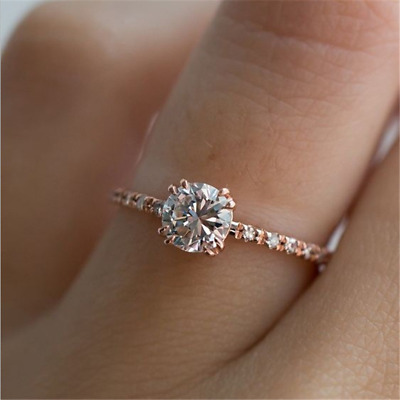 Chic Shiny Round White Sapphire Engagement Ring Rose Gold Wedding Jewelry Gifts