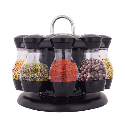 8x Rotating Spice Rack Carousel Kitchen Storage Jar Holder Condiments Container