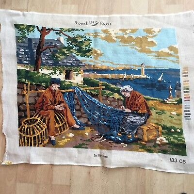 Completed French Vintage Tapestry Fisherman & wife, Cottage, Lighthouse.