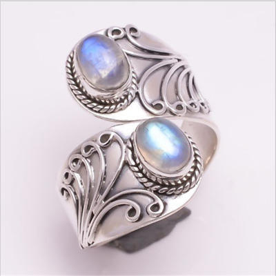 Exaggerated Rainbow Moonstone Ring 925 Silver Engraving Flower Jewelry Size 6-10
